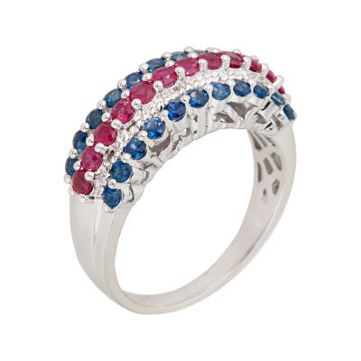 LIMITED QUANTITIES  Genuine Blue Sapphire and Lead Glass-Filled Ruby Triple-Row Ring