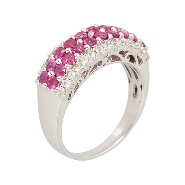 LIMITED QUANTITIES  Genuine White Sapphire and Lead Glass-Filled Ruby Ring