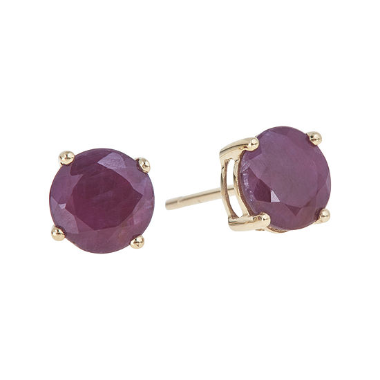 Limited Quantities Lead Glass Filled Ruby Stud Earrings