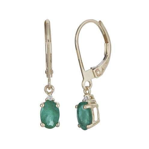 LIMITED QUANTITIES Genuine Emerald and Diamond-Accent 10K Yellow Gold Drop Earrings