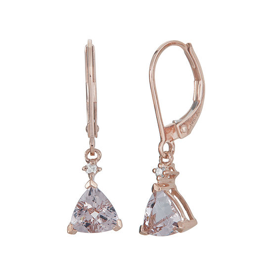 Limited Quantities Genuine Morganite And Diamond Accent 10k Rose Gold Drop Earrings
