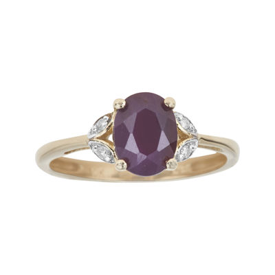 LIMITED QUANTITIES  Lead Glass-Filled Ruby and Diamond-Accent 10K Yellow Gold Ring