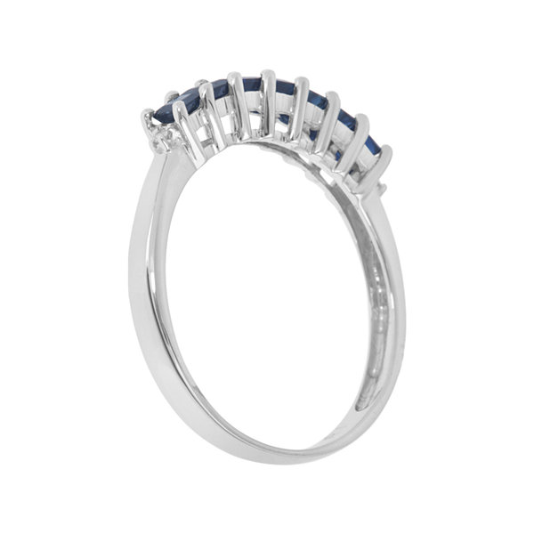 LIMITED QUANTITIES  Genuine Blue Sapphire and Diamond-Accent 14K White Gold Band