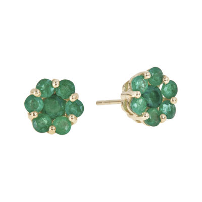 LIMITED QUANTITIES  Genuine Emerald 14K Yellow Gold Flower Earrings