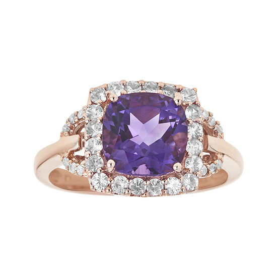 LIMITED QUANTITIES  Genuine Amethyst, Pink Sapphire and Diamond-Accent Ring