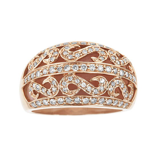 Limited Quantities Genuine Pink Opal And 1 2 Ct Tw Diamond Dome Ring