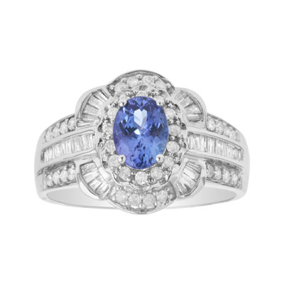 LIMITED QUANTITIES  Genuine Tanzanite and 1/4 CT. T.W. Diamond 14K White Gold Ring