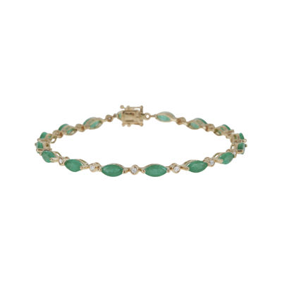 LIMITED QUANTITIES  Genuine Emerald and 1/4 CT. T.W. Diamond 14K Yellow Gold Bracelet