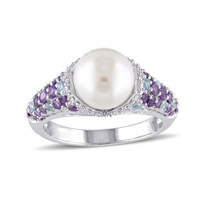 Cultured Freshwater Pearl, Genuine Amethyst and Blue Topaz Ring