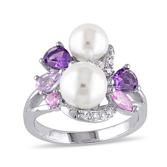 Cultured Freshwater Pearl And Genuine Amethyst Ring