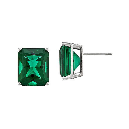 Lab Created Green Helenite Stud Earrings