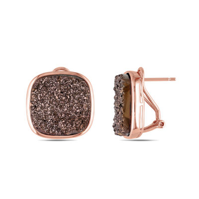 Cushion-Cut Lab-Created Brown Druzy Earrings