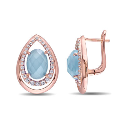 Genuine Chalcedony and White Topaz Rose Gold Over Silver Earrings