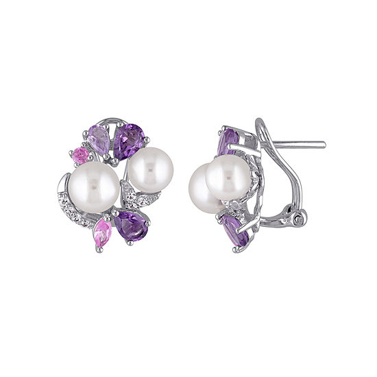 Cultured Freshwater Pearl And Genuine Amethyst Earrings