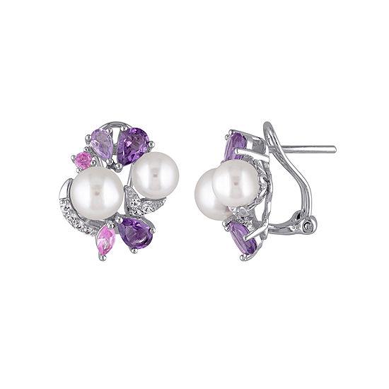 Cultured Freshwater Pearl and Genuine Amethyst Earrings