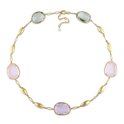 Genuine Amethyst, Genuine Green and Pink Quartz Gold Over Silver Station Necklace