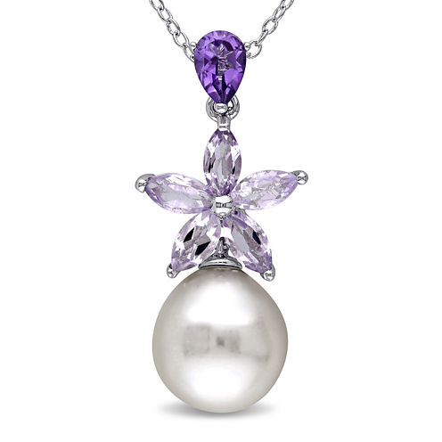 Cultured Freshwater Pearl and Genuine Amethyst Sterling Silver Pendant Necklace