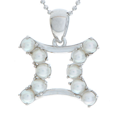 Gemini Zodiac Cultured Freshwater Pearl Sterling Silver Pendant Necklace