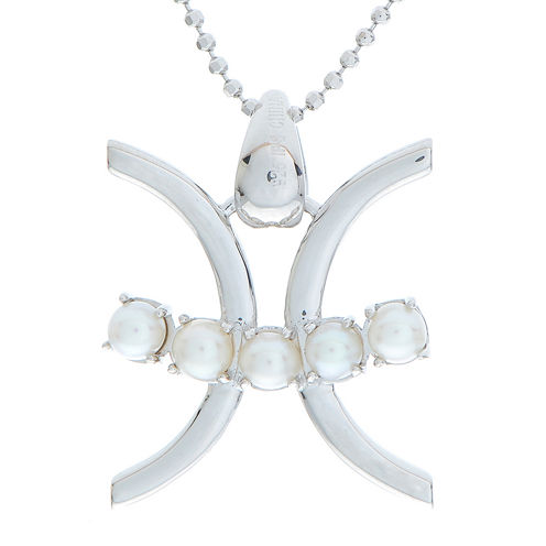Pisces Zodiac Cultured Freshwater Pearl Sterling Silver Pendant Necklace