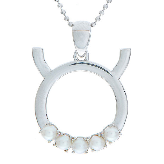 Taurus Zodiac Cultured Freshwater Pearl Sterling Silver Pendant Necklace