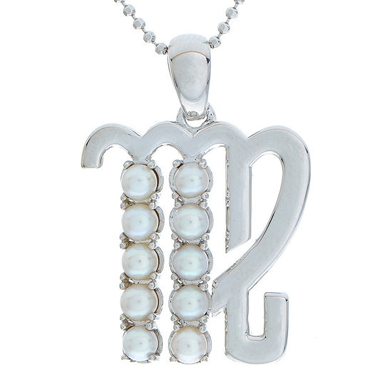 Virgo Zodiac Cultured Freshwater Pearl Sterling Silver Pendant Necklace