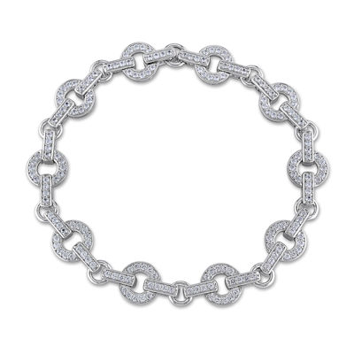 Lab-Created White Sapphire Sterling Silver Bracelet