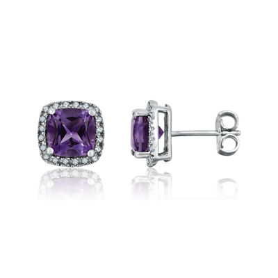 Genuine Amethyst & Lab-Created White Sapphire Halo Stud Earrings