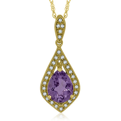 Genuine Amethyst & Lab-Created White Sapphire 14K Yellow Gold Over Silver Pendant Necklace