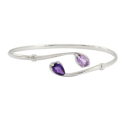 Genuine Purple & Pink Amethyst Bypass Bangle Bracelet in Sterling Silver