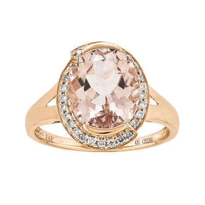 Oval Genuine Morganite and 1/7 CT. T.W. Diamond 14K Rose Gold Ring