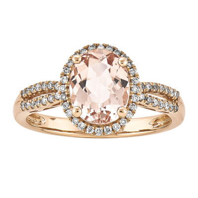 Oval Genuine Morganite and 1/5 CT. T.W. Diamond 14K Rose Gold Halo Ring