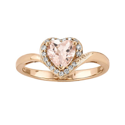 Heart-Shaped Genuine Morganite and 1/10 CT. T.W. Diamond 14K Rose Gold Ring