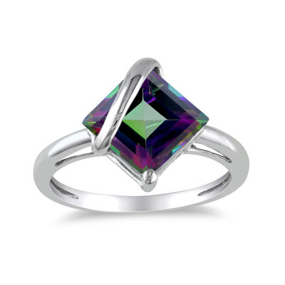 Square Genuine Green Topaz 10K White Gold Ring