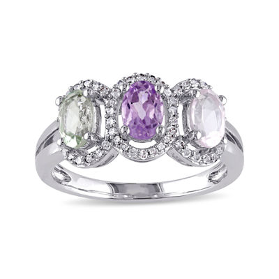 Genuine Rose de France Amethyst, Green and Pink Quartz Ring