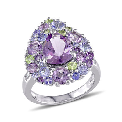 Genuine Amethyst, Peridot and Tanzanite Ring