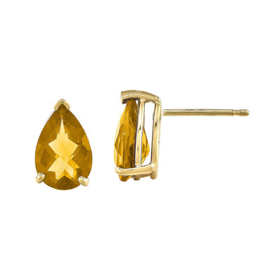 Pear-Shaped Genuine Citrine 14K Yellow Gold Earrings