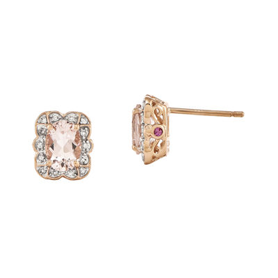 Oval Genuine Morganite and 1/10 CT. T.W. Diamond 14K Rose Gold Stud Earrings