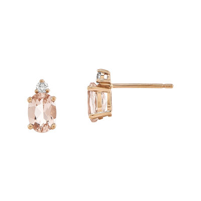 Oval Genuine Morganite and Diamond-Accent 14K Rose Gold Stud Earrings