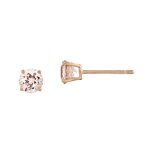 Genuine Morganite 14K Rose Gold Stud Earrings