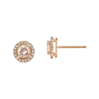 Genuine Morganite and 1/7 CT. T.W. Diamond 14K Rose Gold Halo Stud Earrings