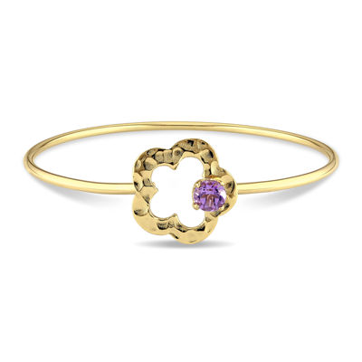 Genuine Amethyst Flower Bangle Bracelet