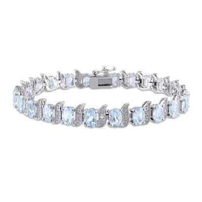 Genuine Sky Blue Topaz and Diamond-Accent Sterling Silver Bracelet