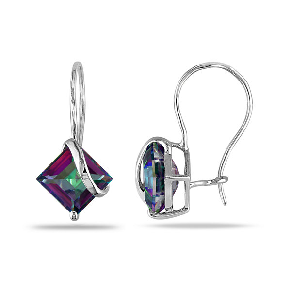 Square Genuine Green Topaz 10K White Gold Earrings