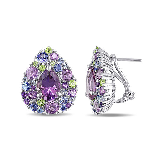 Genuine Amethyst Peridot And Tanzanite Earrings