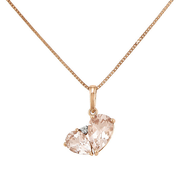Pear-Shaped Genuine Morganite and Diamond-Accent 14K Rose Gold Pendant Necklace