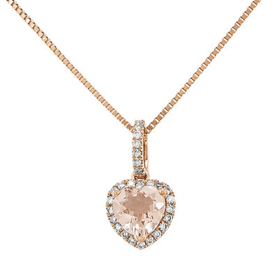 Heart-Shaped Genuine Morganite and 1/7 CT. T.W. Diamond 14K Rose Gold Pendant Necklace