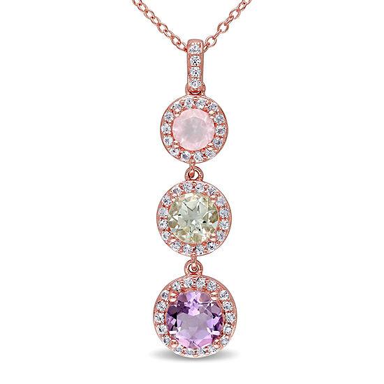 Genuine Rose de France Amethyst, Green and Pink Quartz Pendant Necklace