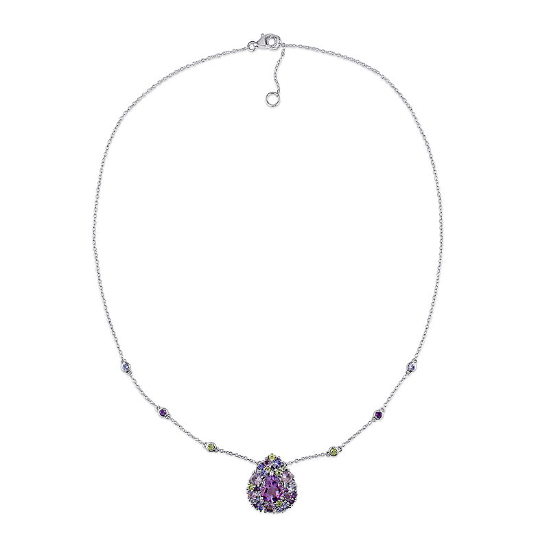 Genuine Amethyst, Peridot and Tanzanite Necklace