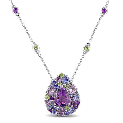 Genuine Amethyst, Peridot and Tanzanite Necklace