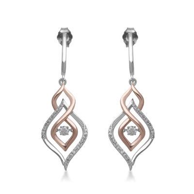 Love in Motion™ 1/3 CT.  TW. Diamond 10K Two-Tone Gold Teardrop Drop Earrings